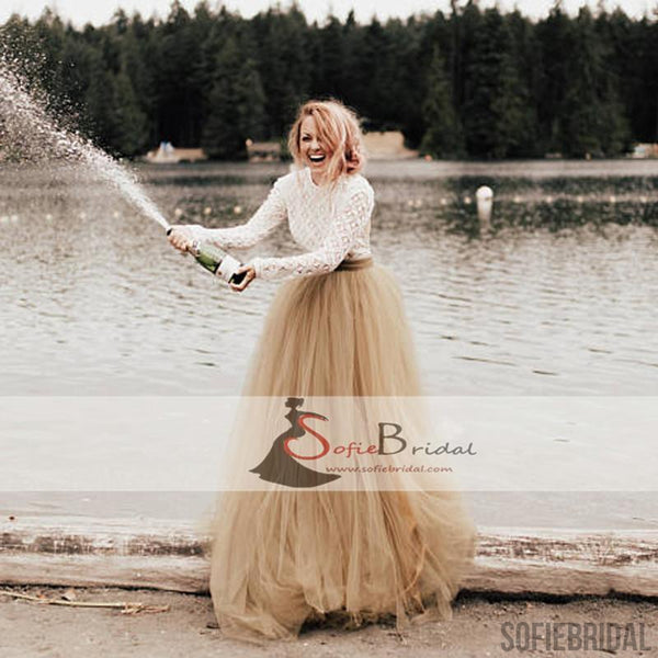 Round Neck Long Sleeve Backless Lace Tulle Wedding Dresses, Country Wedding Dresses WD0262