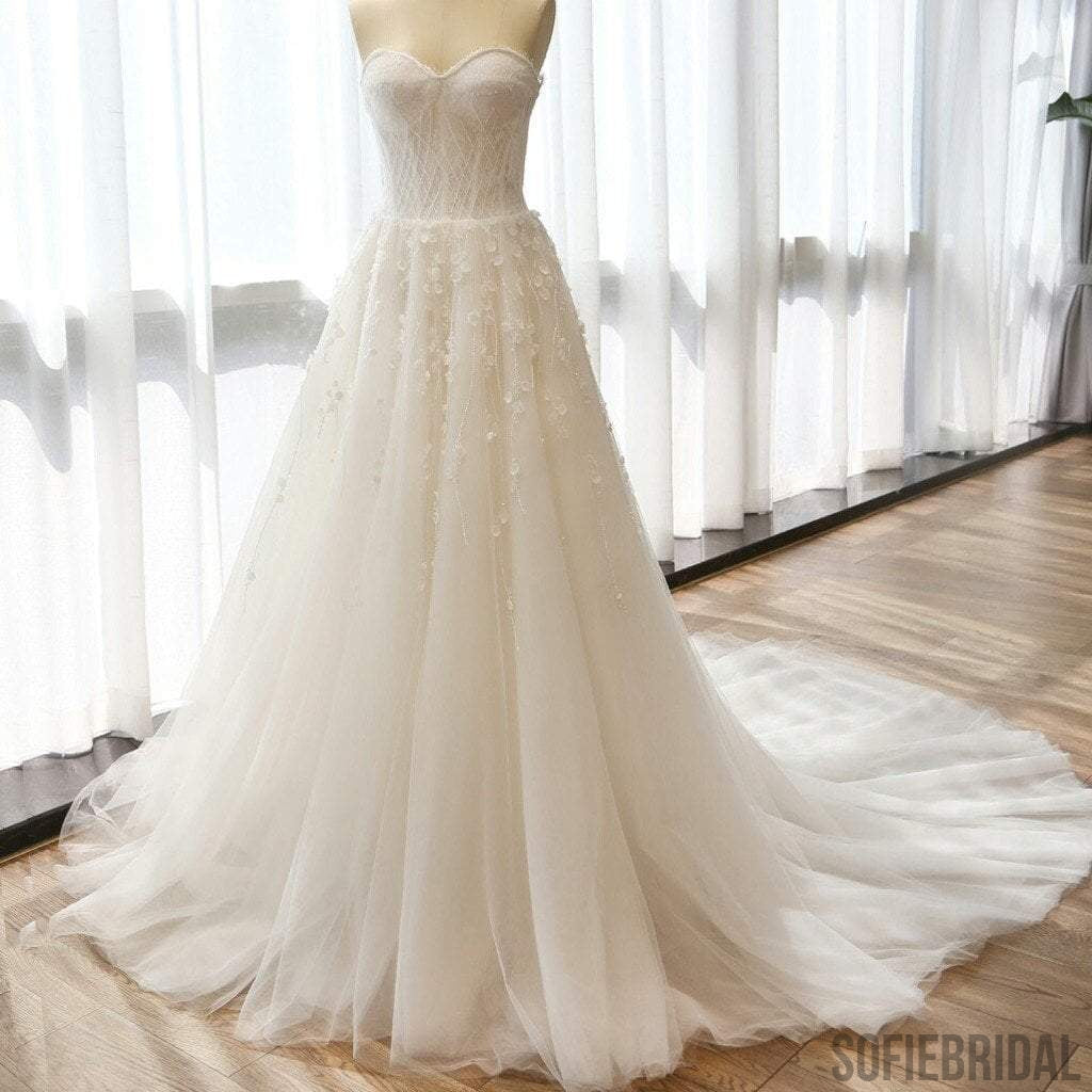 Charming Sweetheart Long A-line Appliques Ivory Tulle Wedding Dresses, WD0153