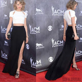 2 pieces White Satin Top Black Jersey Prom Dresses, Taylor Swift Celebrity Inspired Side Slit Prom Dresses, PD0331
