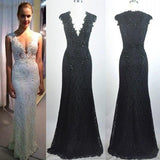 V-neck Sleeveless Lace Beaded Sheath Tulle 2017 Long Prom Dresses, PD0268
