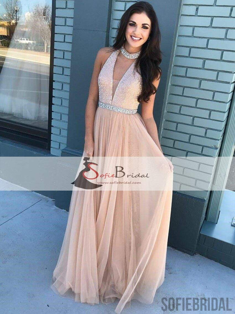 V-neck Shiny Beaded Top Prom Dresses, Tulle Prom Dresses, Popular Prom Dresses, PD0430