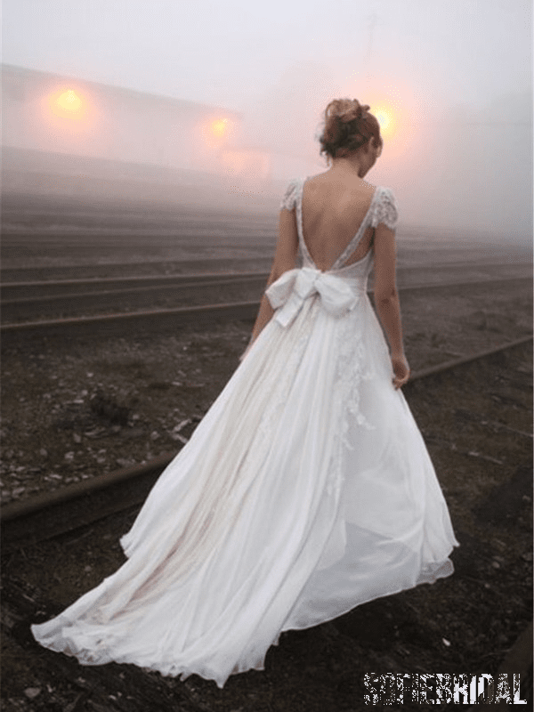 Sexy Backless Cap Sleeve V Neck A-line Chiffon Beach Wedding Dresses Online, WD351