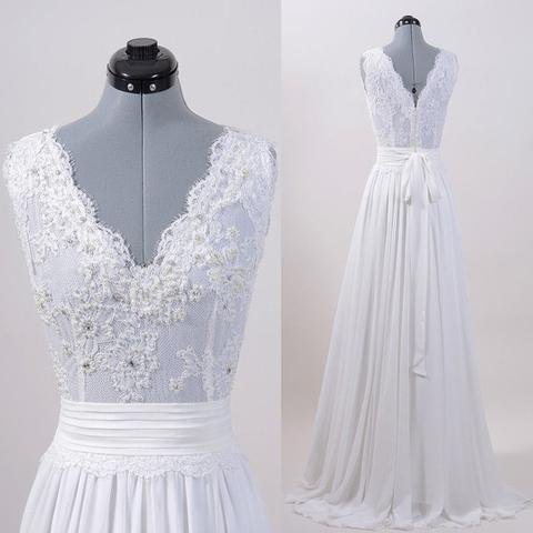 Simple Design Lace V-neck Long A-line Chiffon Wedding Dresses, WD0218