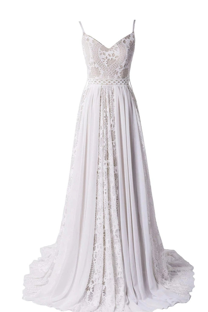 A-line V-neck Spaghetti Straps Lace Long Wedding Dresses, WD0494