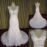 Gorgeous V-neck Lace Rhinestone Long Sheath Zip Up Wedding Dresses, WD0217
