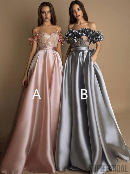 Gergeous Off-shoulder Lace And Appliques Long Prom Dresses With Pockets, PD0117