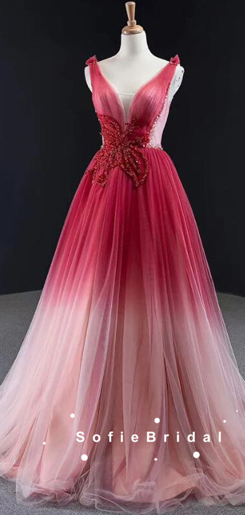 A-Line V-Neck Sleeveless Red Ombre Tulle Cheap Prom Dresses With Beading,SFPD0063