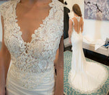 New Arrival V-neck Lace Beaded Long Mermaid Elegant Wedding Dresses, WD0207