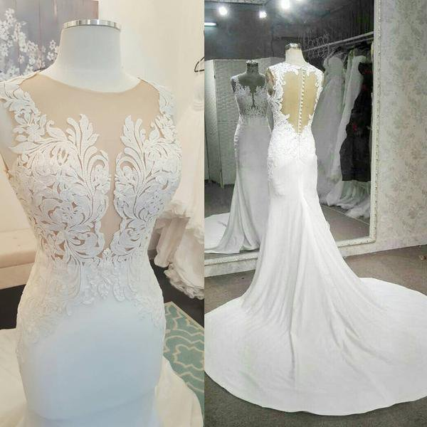Gorgeous See Through Lace Long Mermaid White Jersey Wedding Dresses, WD0208