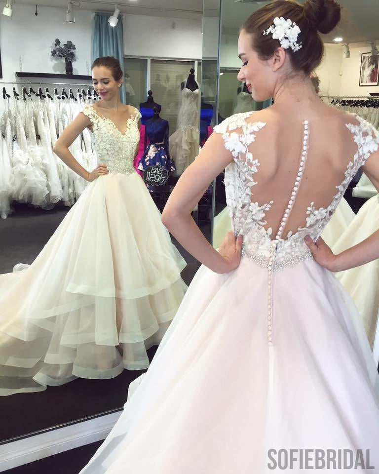 Lace Cap Sleeves See Through Organza Skirt A-line Wedding Dresses Online, WD367