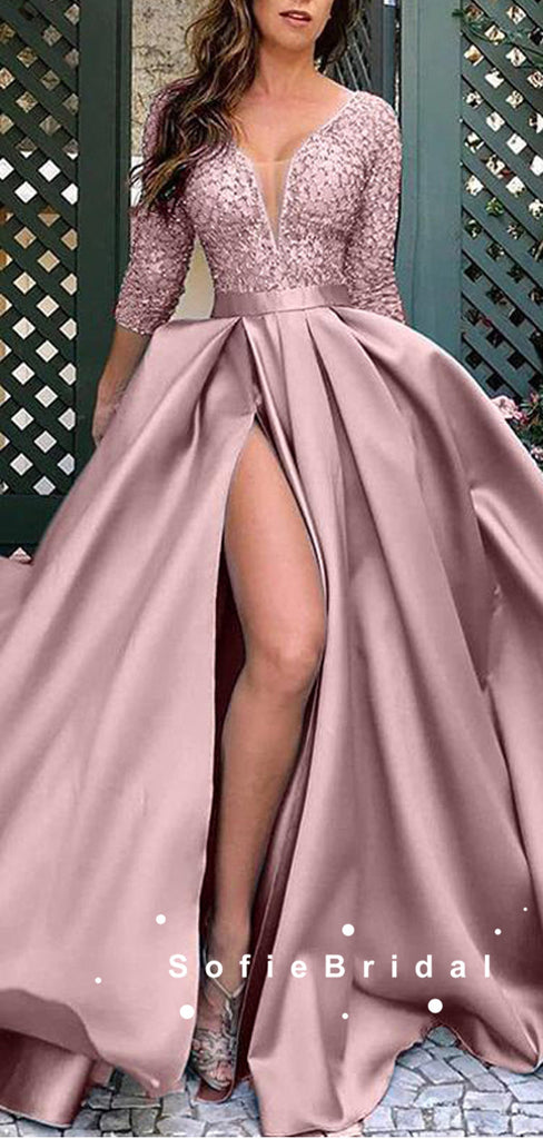A-Line V-Neck 3/4 Sleeves Split Side Long Prom Dresses With Lace,SFPD0064