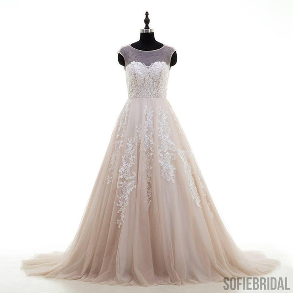 Sexy Open Back Illusion Lace Tulle A-line Wedding Dresses Online, WD368
