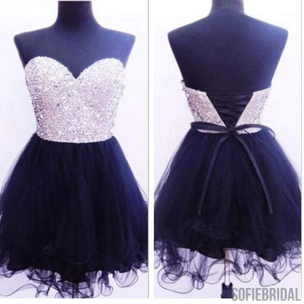 Pretty sweetheart mini dresses for teens sparkly homecoming prom dresses, SF0027
