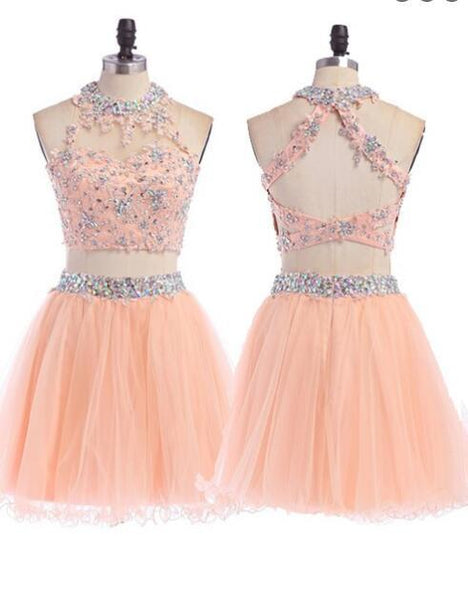 Sexy Two pieces Peach lace tulle homecoming prom dresses, SF0026