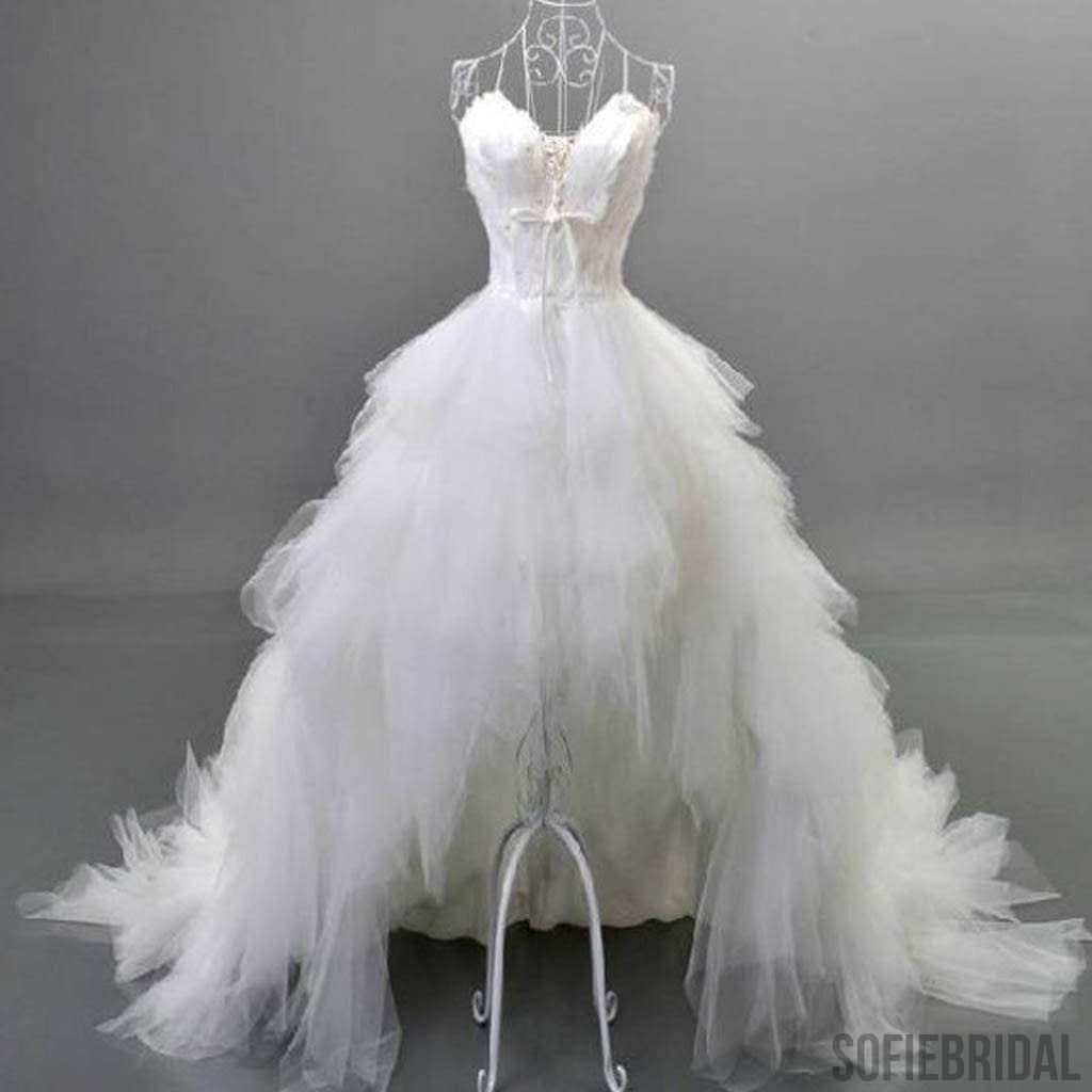 Unique Style Hi-low Sweetheart White Tulle Strapless Wedding Dresses With Feather, WD0067