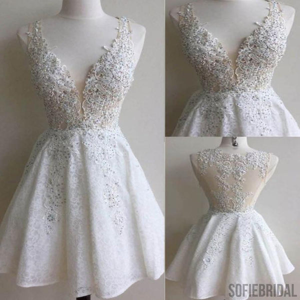 Popular white lace gorgeous v-neck see through homecoming dresses, SF0019