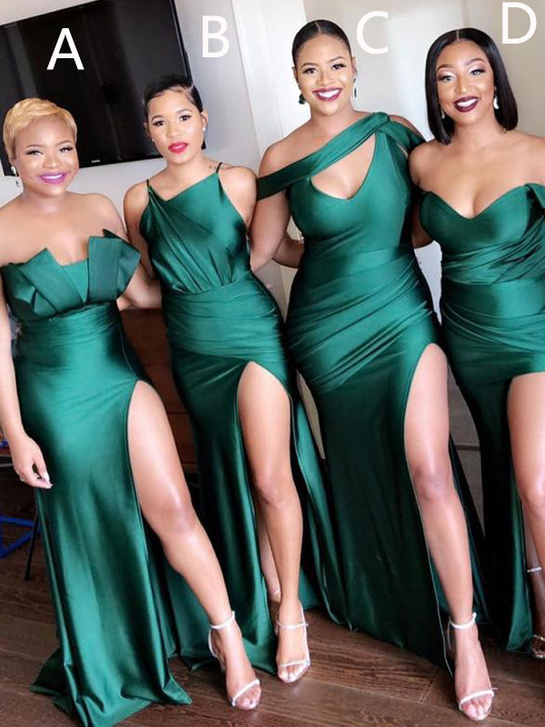 Mismatched Emerald Green Mermaid Cheap Bridesmaid Dresses Online,BD2026