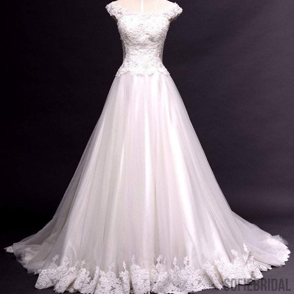 Scoop Neck Cap Sleeve Long A-line Lace Tulle Wedding Dress, Bridal Gown, WD0115