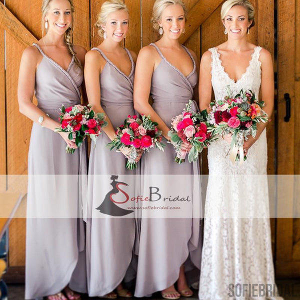 V-neck Slit A-lien Bridesmaid Dresses, Cheap Bridesmaid Dresses, Grey Bridesmaid Dresses, PD0488