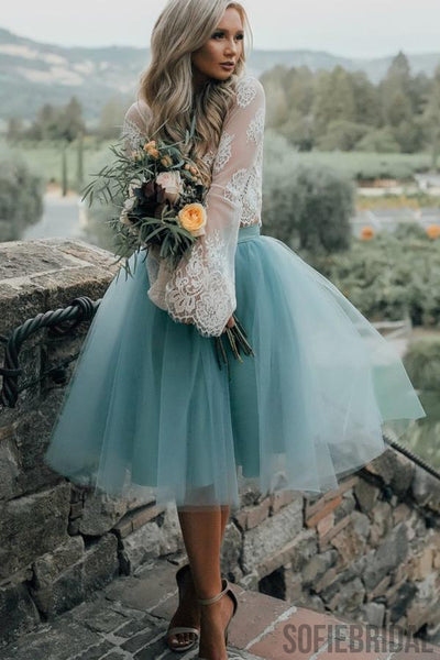 2017 New Arrival Boho Style Long Sleeve See Through Lace Top  Blue Tulle Homecoming Dresses, SF0088