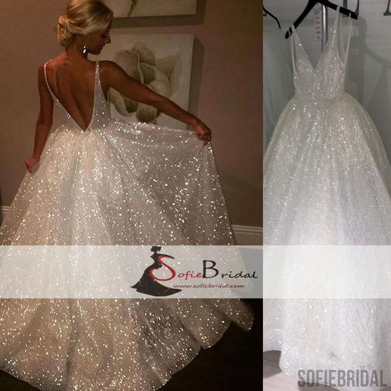 V-neck Sequin Tulle Sparkle Long A-line Prom Dresses, Lovely Wedding Dresses, Formal Dresses, PD0472