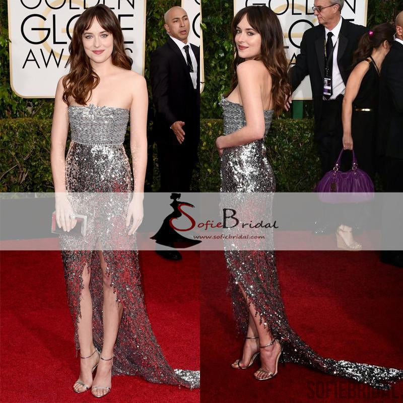Dakota Johnson Red Carpet Dresses, Strapless Shinny Sequin Slit Prom Dresses, PD0420