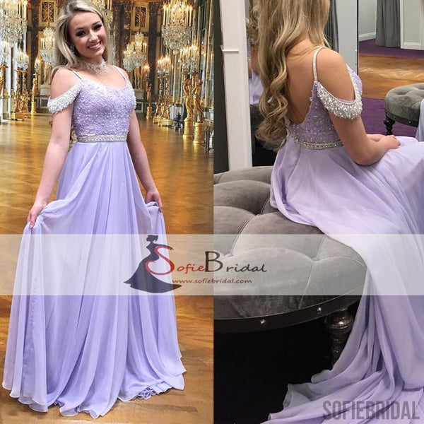 Lilac Off Shoulder Chiffon Off Shoulder Lace Beaded Prom Dress, A-line Prom Dresses, PD0446