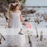White Tulle Lace Strap Lovely Floral Flower Girl Dresses, Popular Flower Girl Dresses, FG084