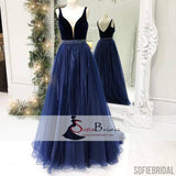 Navy Blue V-neck Top Tulle A-line Prom Dresses, Simple Design Long Prom Dresses, PD0387