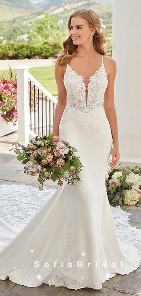Mermaid Spaghetti Straps Lace Long Wedding Dresses,SFWD0007
