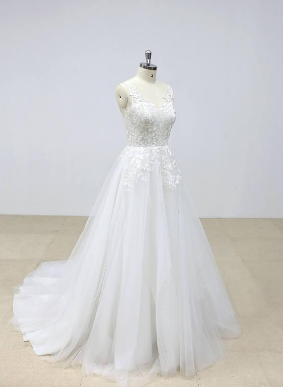 Elegant Backless Lace V Neck Tulle A-line Cheap Wedding Dresses Online, WD390