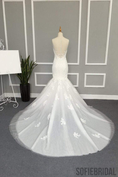Illusion Lace Tulle Mermaid Wedding Dresses, Gorgeous See through Bridal Gown, WD0237