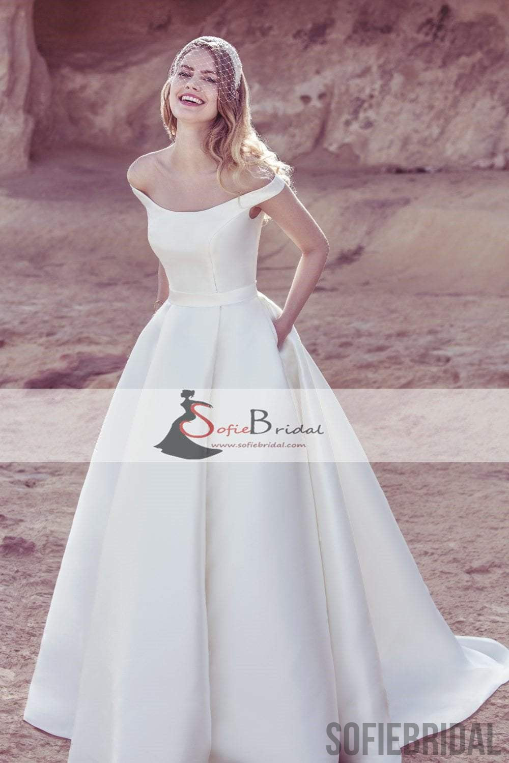 Off Shoulder Satin Wedding Dresses, A-Line Elegant Wedding Dresses ...