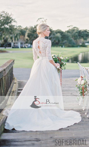 Elegant Lace Top Wedding Dresses, Half Sleeves Tulle Bridal Gown, Wedding Dresses, WD0264