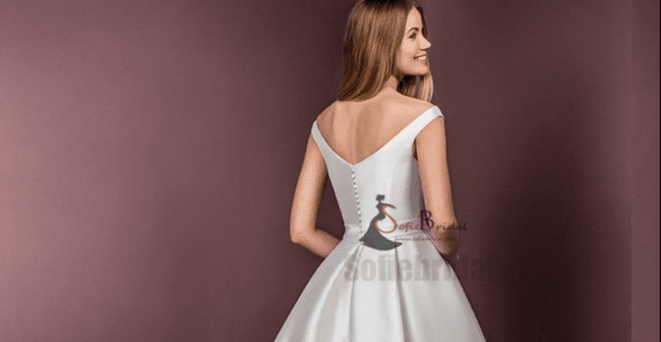 Off Shoulder Satin Wedding Dresses, A-Line Elegant Wedding