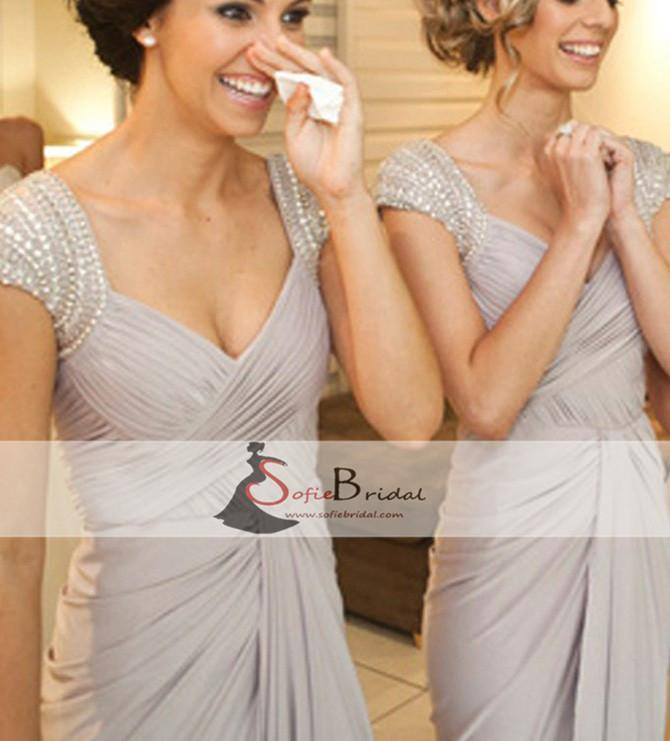 Cap Sleeve Beaded Jersey Grey Bridesmaid Dresses, Long Bridesmaid Dresses, Cheap Bridesmaid Dresses, PD0489