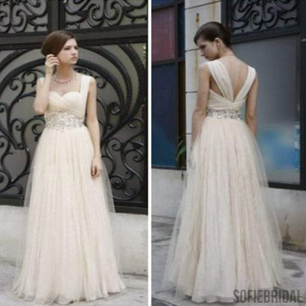 Charming Simple Design Ivory High Waist Rhinestone Wedding Party Dresses, WD0070