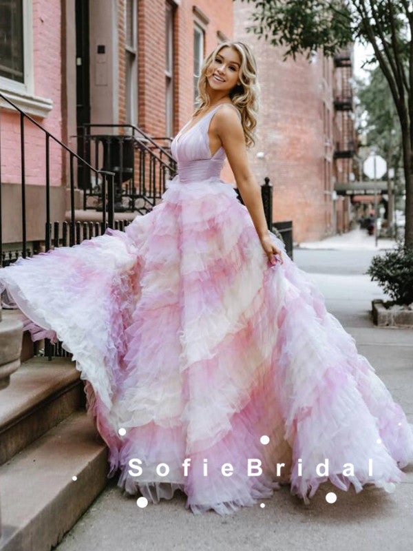 Alluring A-Line V-Neck Sleeveless Tulle Long Prom Dresses With Ruffles,SFPD0070