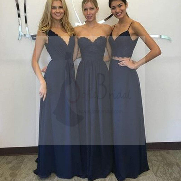 Convertible New Design Elegant Lace Chiffon Navy Blue A Line Floor-Length Inexpensive Bridesmaid Dresses, WG70