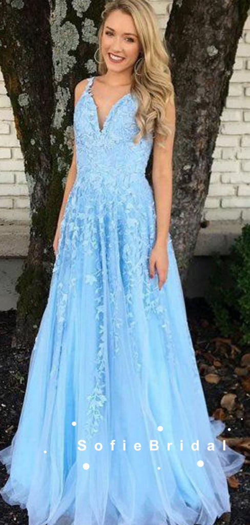 A-Line V-Neck Spaghetti Straps Blue Tulle Long Prom Dresses With Lace,SFPD0071