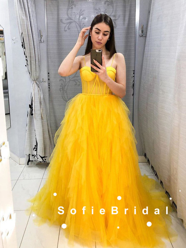 A-Line Sweetheart Spaghetti Straps Yellow Tulle Long Prom Dresses Online,SFPD0072