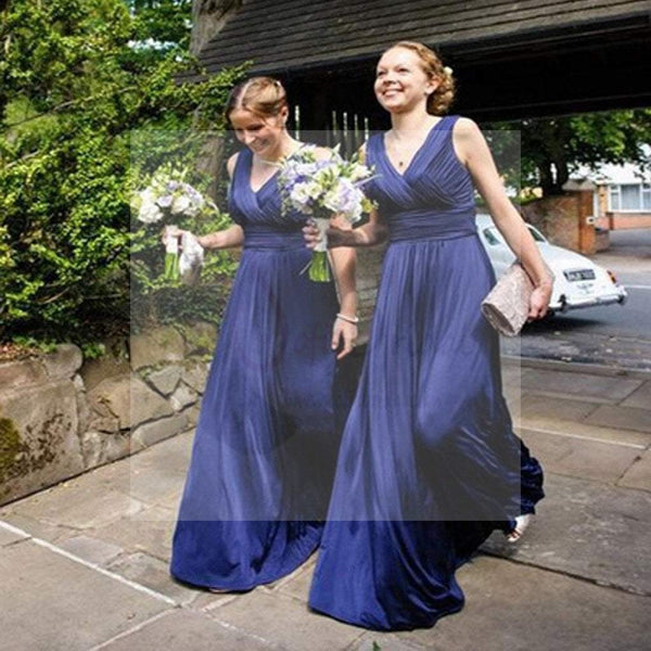 On Sale Chiffon Off Shoulder V-Neck Simple Cheap Formal A Line Royal Blue Long Bridesmaid Dresses, WG73