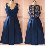 Royal blue vintage lace see through homecoming prom dresses, SF0049