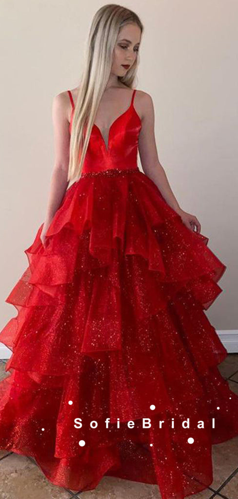 Sparkly A-Line V-Neck Spaghetti Straps Red Long Prom Dresses With Beading,SFPD0074