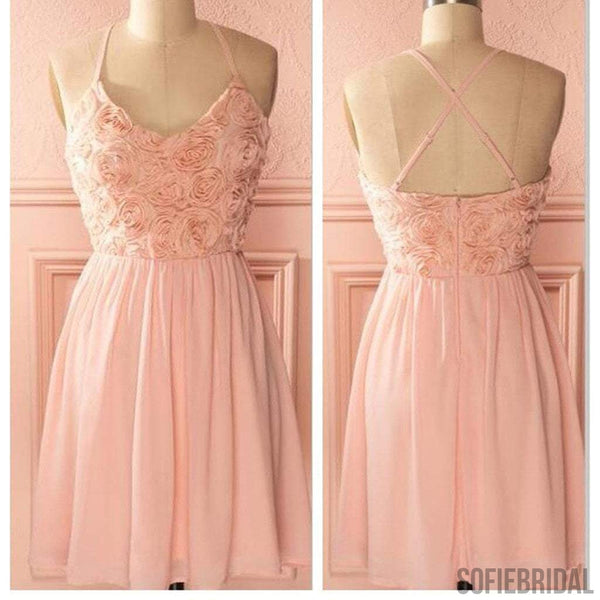 Peach spaghetti halter simple mini freshman homecoming prom bridesmaid dress,SF0011
