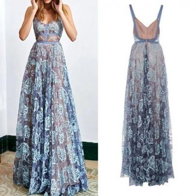 Blue Lace Spaghetti Long A-line Prom Dresses, 2018 Prom Dresses, Backless Prom Dresses PD0334