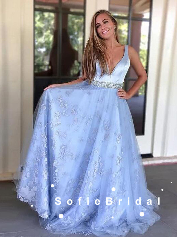 A-Line Deep V-Neck Sleeveless Tulle Lace Long Prom Dresses With Beading,SFPD0075
