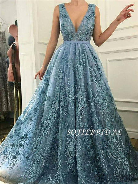 A-line V-neck Sleeveless Appliques And Beading Long Prom Dresses, PD1020