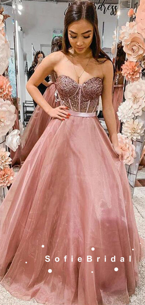 A-Line Sweetheart Tulle Long Prom Dresses With Beading,SFPD0077