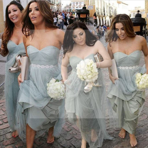 Unique Elegant Sweet Heart Tulle Pretty Women Sleeveless aFashion Inexpensive Long Bridesmaid Dresses, WG77